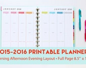 2015 - 2016 Printable Planner with Morning Afternoon Evening Layout | Weekly Agenda | Hourly Planner Pages | Printable Planner