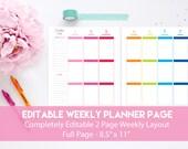 Weekly Planner Page Editable | Printable Weekly Planner | Editable Weekly Planner