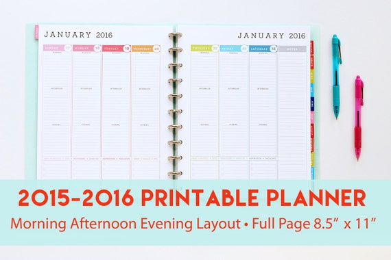2015 - 2016 Printable Planner with Morning Afternoon Evening Layout ...
