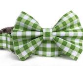 Gingham Dog Collar Bow Tie / Green Plaid Dog Bowtie / Green Gingham Dog Collar / Green White dog collar / green white plaid bow tie collar