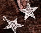 2 Fine Silver Poinsettia Star Charms -  Handcrafted by karen Hill Tribe - C114