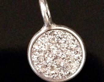 Sparkling Sterling Silver Druzy Pendant  - 8.5mm Round Glittering Crystal Quartz Charm GL212