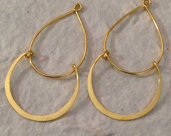 NEW - Contemporary Chandeliers  -  Vermeil Gold Flared Teardrops -  1 Pair E236