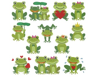 FROGS 1 - Machine Filled Embroidery - Patterns - Instant Digital Download