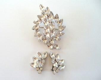 Juliana Crystal Rhinestone Brooch and Earrings Set