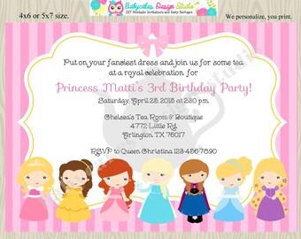 Princess Birthday Inivtation disney princess tea party invitation disney princess invitation invite pink yellow DIY DIgital Printable