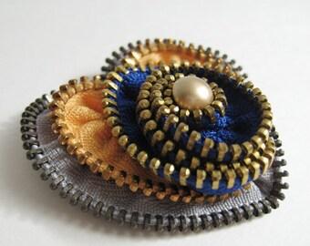 Yellow Heart Zipper Brooch Pin