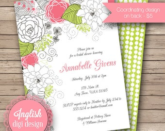 Cascading Flowers Bridal Shower Invite, Printable Floral Bridal Shower Invitation, Cascading Floral Shower Invite in Coral and Lime