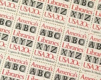 Unused set of 10 Americas Libraries postage stamps
