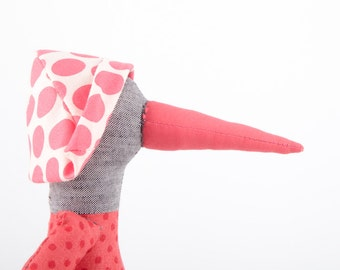 Modern Stuffed gray bird doll - plush duck doll in pink dotted shirt & Mint green pants, Polka Dots hat  - timo handmade eco cuddling doll