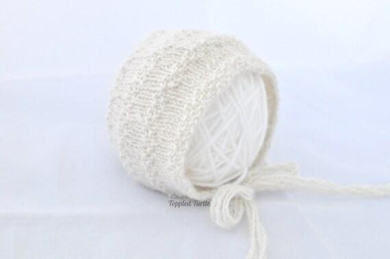 Newborn Knit Baby Bonnet | Newborn Knit Photo Prop | Newborn Alpaca Baby Bonnet | Handspun Knit Baby Bonnet | Newborn Cream Bonnet
