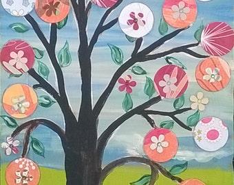 Mexican folk art Original Painting on upcycled wood Mixed Media Happy Tree Penny tree