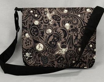 Large Black Canvas Messenger Bag, Halloween Skulls Bats, Goth Laptop Bag, Tablet and Phone Zipper Pockets, For Men, Dark Gray, Ready To Ship