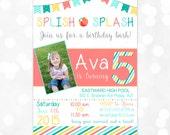 Girl Birthday Invitation – Splish Splash Birthday Invite Pool Party Invite Coral Teal Banner Printable Digital Download Invite (Item #4)