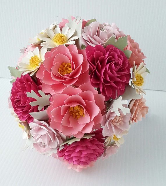 Paper Bouquet - Paper Flower Bouquet - Wedding Bouquet - Shades of Pink with Daisies - Custom Made - Any Color