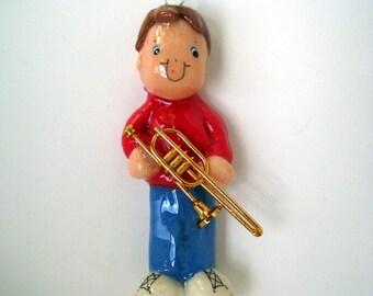 trombone ornament handmade bread dough by judy caron