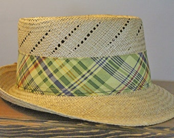 Vintage Straw Hat - Men's Panama Hat -  1980s