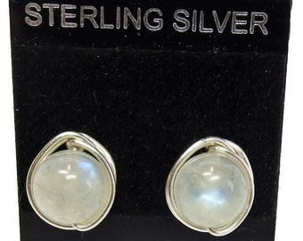 Rainbow Moonstone and Sterling Silver Herringbone-Topped Wire-Wrapped Post Earrings