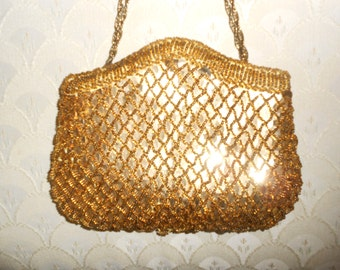Vintage 1960s MAGID gold beaded and sequined chain-strap formal / evening bag