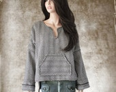 Contemporary baja top/Wool brown pattern/Long sleeve pull over/Tail back hem