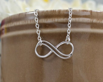 Small Sterling Silver Infinity Necklace | Small Double Infinity Necklace | Infinity Necklace | Gift for Mother Daughter