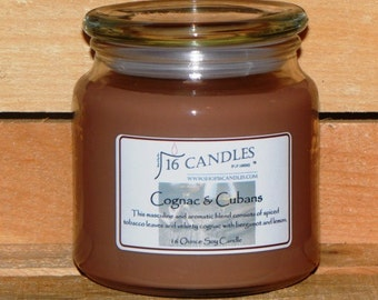 Cognac & Cubans Soy Candle ~ 16 Ounce Jar ~ Masculine Scent ~ Bold Tobacco Fragrance ~ 16 Candles by J.P. Lawrence