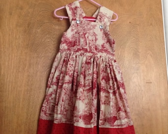Girls Boutique Dress SAMPLE SALE Christmas Toile sizes 3 or 4