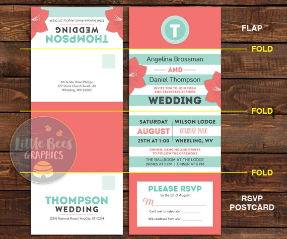 Floral Wedding Invitations with attached RSVP postcards -- 25 Seal and Send Wedding Invitations -- Coral Blooms and mint stripes