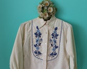Vintage VTG VG 1960's Baby Blue Embroidered Long Sleeved Linen Top Birds and Flowers Hand Made Women's Small with Two Front Pockets Hippie