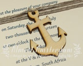 10 to 100 Wooden Anchor Charms or Decorations for Nautical Invitations - Please Select Pack Size
