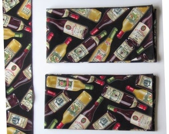 "18-inch Square Wine Bottle Fabric Cloth Napkins - Set of 4 and 12"" X 42"" Unlined Runner - Handmade"