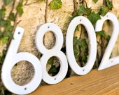 Distressed Aluminum House Numbers- White