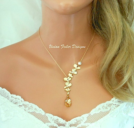 Schmuck gold  Champagner Hochzeit Schmuck Gold Orchid Halskette Perlenkette