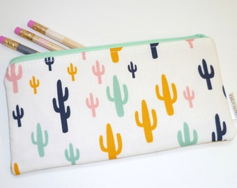 Zip Pouch in Cacti. Cosmetic / Make-up Bag. Gadget / Pencil/ Phone Case. Navy. Mint. Coral. Mustard.