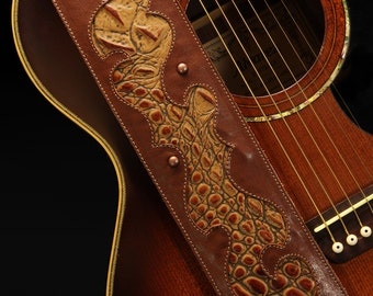 Guitar Strap, Custom Leather Guitar Strap:  Copper Blaze Guitar Strap