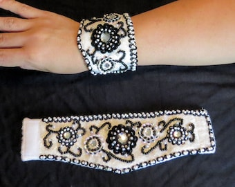 White and Black Belly Dance Wrist Cuffs