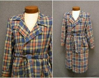1950s Roytex Wool Blend Plaid Robe