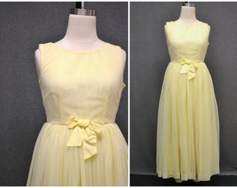 1960s Pale Yellow Chiffon Dress