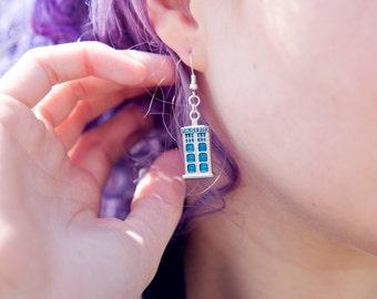 Geeky Police Box Earrings