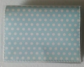 Cash/Card Wallet - Polka Dots/Walla Wallat, vintage, blue, cream, retro, card/cash case, vinyl wallet, snap wallet