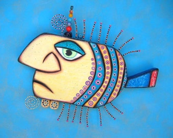 Gangster Fish II, Original Found Object Sculpture, Wall Art, Wood Carving, Wall Decor, by Fig Jam Studio