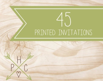 ADD ON >>> 45 5x7 Printed Premium Invitations with white envelopes