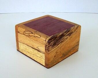 wood box of spalted tamarind and purple heart jewelry box keepsake box trinket box office decor desk decor school box