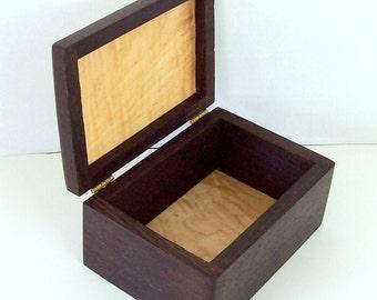 Wood jewelry box wenge and soft maple wood keepsake box trinket box office storage desk organization memory box
