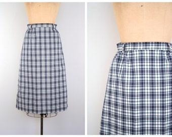 preppy plaid straight skirt - vintage 80s / David Brooks Ltd. - Talbots / classic prep- navy blue & green