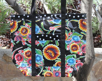 Large Lined Oilcloth Bag with Pockets in Flowers and Polka Dots