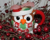 Mrs. Claus Cookies Scented Christmas Owl Candle -Holiday Decor- Ready to ship CIJ