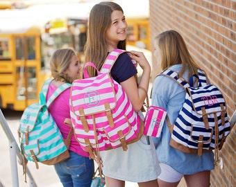 Striped Campus Backpack- Girls Backpack- Kids Backpack- Monogrammed Backpack- Back to School- Embroidered Backpack