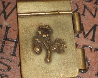 Antique Brass Embellished Note Tablet/Pad with Paper Pages of Jehovah's Witness Interest Bible Verses Russell Embellished Mini Note w/Paper