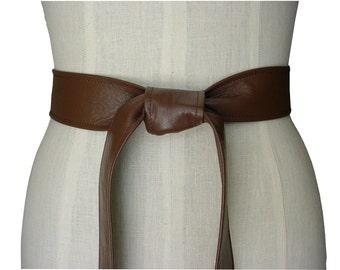 BASIC LEATHER TIE Belt Milk Chocolate Brown Leather Coat Belt Soft Leather Sash Belt  Xsmall -small - medium - large - Xlarge, made to order